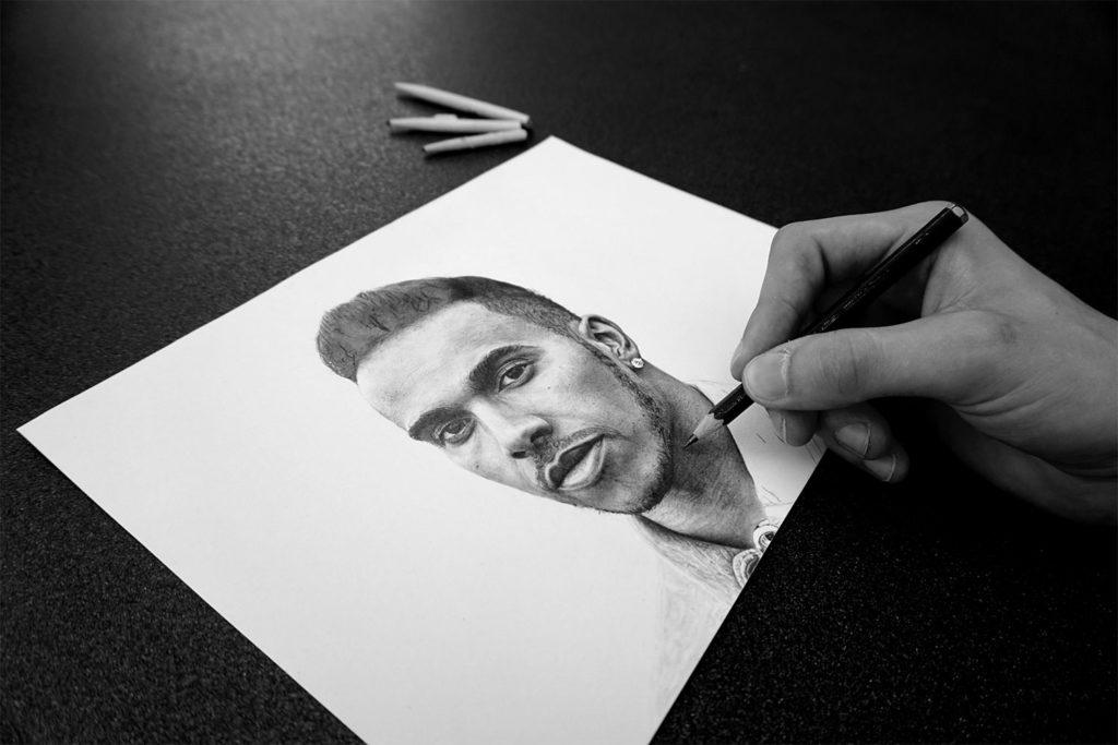 Lewis Hamilton Zeichnung von Joris Wagner