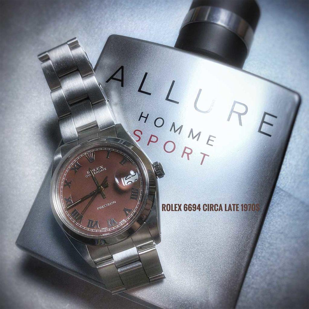 Das ist die Uhr, mit der ich angefangen habe, eine alte Rolex 6694 Oysterdate Precision, die fast so alt ist wie ich.