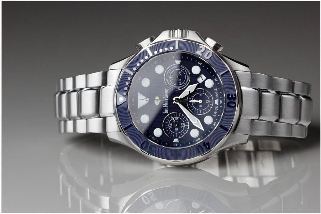 SWC blue Chronograph Swiss Watch Company