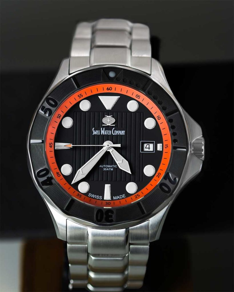 Swiss Watch Company black orange Diver